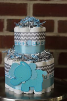 Mini 2 Tier Elephant Diaper Cake, Blue Gray Elephant Baby Shower, Boy, Baby Shower Centerpiece, Blue Grey Chevron Elephant Shower Decor