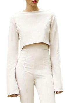 Cropped Bell Sleeve Top - Multiple Colors
