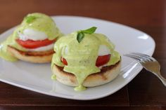 Caprese Eggs Benedict. Looks so much better that the standard kind, and a little lighter.