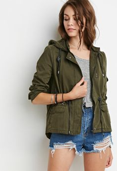 Love this utility jacket...so cute...with a plaid shirt underneath and a scarf...FALL!! Hooded Utility Jacket   Forever 21 - 2000140967