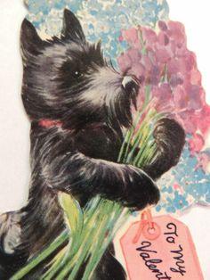 #419 Vintage Valentine Card 1930's Scotty Dog Scottish Terrier Bouquet Of Flower