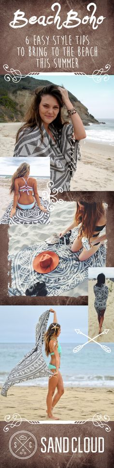 Adapting boho style for the beach means lavish but lightweight and easy-to-wear ensemble outfits that you can wear over a bikini and stuff in your bag when you go for a dip.