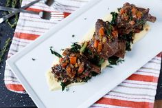Braised Beef Short Ribs with Red Wine Gravy and Swiss Chard