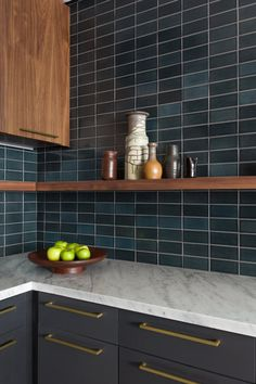 Modern Kitchen with a Touch of Drama Installation Gallery Fireclay Tile Modern Kitchen Design, Interior Design Kitchen, Modern Interior Design, New Kitchen, Kitchen Dining, Kitchen Decor, Kitchen White, Blue Kitchen Tiles, Modern Kitchen Tiles