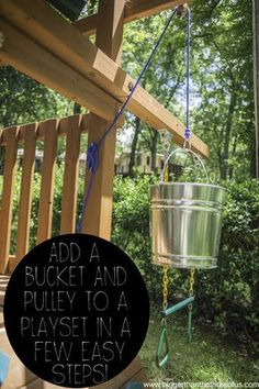 Take your playset to the next level with a handy bucket pulley system. outdoor play area for kids forts Add a Bucket With a Pulley to an Outdoor Playset in a Few Easy Steps Cozy Backyard, Backyard For Kids, Backyard Fort, Backyard Treehouse, Backyard Playset, Outdoor Playset, Outdoor Toys, Playset Diy, Outdoor Play Spaces
