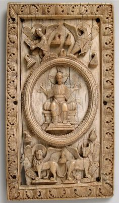 Panel with Christ and the Four Symbols of the Evangelists, carved ca. 1050  Ottonian (possibly Fulda, Germany)  Ivory