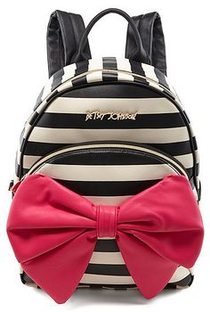 Betsey Johnson Bow Tails Striped Backpack  betseyjohnson  pink  bow  black   white  stripes  glam  backpack  school  fashion  diva  chic 7164f77944f3b