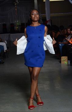 d179f1a70d Handmade Save Soul Clothing royal blue pom pom womens small medium short  tank dress