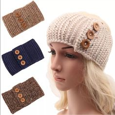 CROCHET HEADBAND WARMER Great quality crocheted headband warmer. Has 3 wood buttons for decoration. New without tag. Made from acrylic.  Light Beige. No trades. Price firm. Bundle for discount Accessories Hats