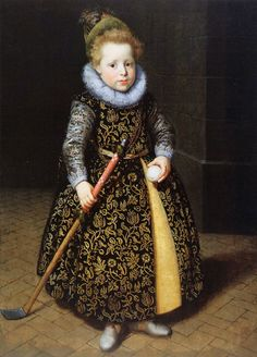 """""""Portrait of a Four-Year-Old Boy with Club and Ball"""" by Paulus Moreelse (1620-1630s)"""