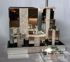 Bella Lux Mirrored Rhinestone Bathroom Accessories DispenserContainerTraySoap
