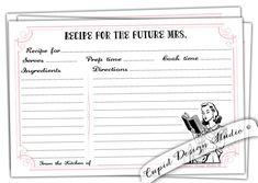 Printable recipe card. Bridal shower recipe card. For the bride. Wedding stationery. Retro housewife recipe cards. digital printable.