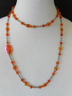 Carnelian Oval Stones and Swarovski Crystal Necklace by mdeja, $126.00
