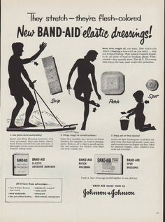 "Description: 1951 BAND-AID vintage print advertisement ""elastic dressings"" -- They stretch -- they're flesh-colored -- New Band-Aid elastic dressings! Bend, twist, wiggle all you want. * Strip * Patch * Spot * Band-Aid means made by Johnson & Johnson -- Size: The dimensions of the full-page advertisement are approximately 10.5 inches x 14 inches (27 cm x 36 cm). Condition: This original vintage full-page advertisement is in Very Good Condition unless otherwise noted."
