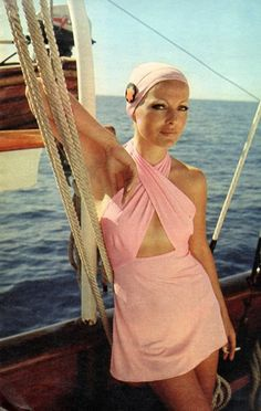 Italian actress Virna Lisi on a yacht in the 1960's