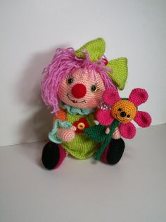 clown girl amigurumi by laurabdesign, via Flickr