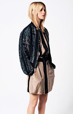 see by chloe spring 2013 Silk dress with a draw string Printed silk jacket