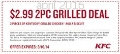 Kfc Coupons PROMO expires May 2020 Hurry up for a BIG SAVERS KFC is a well-known chicken restaurant chain in the United States. Kfc Coupons, Grocery Coupons, Love Coupons, Free Printable Coupons, Free Printables, Coupons For Boyfriend, Coupon Stockpile, Extreme Couponing, Coupon Organization