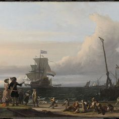Nederlandse schepen op de rede van Texel; in het midden de 'Gouden Leeuw', het vlaggeschip van Cornelis Tromp, Ludolf Bakhuysen, 1671 - Rijksmuseum