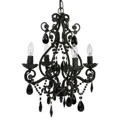 A beautiful 4 bulb chandelier is the perfect finishing touch to any room - even the powder room! This lovely vintage-style metal framed chandelier has glass and acrylic beads and dangles, and uses four 25 watt candelabra bulbs. Cheap Chandelier, Black Chandelier, Chandelier Shades, Chandelier Lighting, Gothic Chandelier, Bathroom Chandelier, Beaded Chandelier, Contemporary Chandelier, Vintage Chandelier