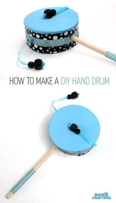 Make this fun diy musical instrument - a hand drum! Such a fun DIY toy for kids, and a craft that kids can help make, decorate, and play with afterward.