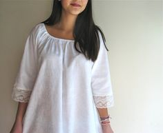 White Cotton Nightgown Peasant Style Floral by marypearlsvintage