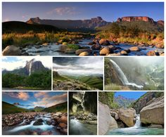 SOUTH AFRICA THE BEAUTIFUL The world famous Drakensberg Amphitheater is one of the most beautiful and impressive geographical features on the face of the Earth. It is a rock wall of 5km (3 miles) long and 500 meters (546 yards) high. The Tugela Falls at 948 meters high as it travels east to the Indian Ocean. African Holidays, Kwazulu Natal, Rock Wall, The Beautiful Country, Afrikaans, Holiday Destinations, Acceptance, South Africa, Scenery