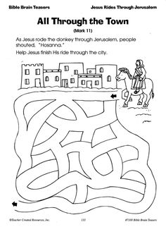 all through the town jesus rides through jerusalem christian easter skill page sample page from bible brain teasers