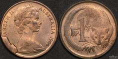Australian 1966 1 cent with large obverse cud coins coin errors. Australian Money, Old Coins Worth Money, Coin Worth, Coin Collecting, Childhood Memories, Stamps, Owl, Copper, Notes