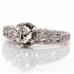 Antique Style 0.80cts Diamond Platinum Engagement Ring Item #: 469701