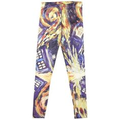 Hot Topic Doctor Who Van Gogh TARDIS Leggings ($27) ❤ liked on Polyvore featuring pants, leggings, doctor who, bottoms and legging pants