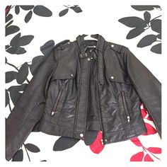 Forever 21 faux leather biker jacket Edgy and cute, has lots of zippers buttons and details. Worn maybe 2 or 3 times, but still In great condition. Size large but fit like a medium. Make an offer! Forever 21 Jackets & Coats