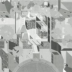 OMMX (London) and James Taylor-Foster (London, Rotterdam, Venice) were placed in the final shortlist to curate and design the British Pavilion at the 2016 International Architecture Exhibition – La Biennale di Venezia, *Reporting From the Front*. Architecture Graphics, Architecture Drawings, Architecture Details, Architecture Collage, Photoshop, Architect Design House, Axonometric Drawing, Technical Drawing, Drawing Sketches