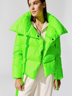 Puffa in Neon Green by Bacon from Green Puffer Jacket, Green Coat, Puffer Jackets, Neon Green, Modern Fashion, My Style, Bacon, How To Wear, Outfits