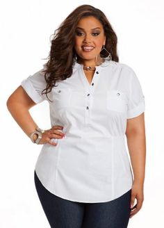 c1c3c2a7cce71 Ashley Stewart Women`s Plus Size Cinched White Top Big Girl Clothes