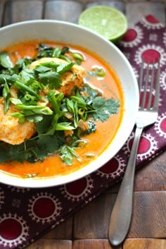 Poached Halibut in Thai Coconut Curry Broth  -Just made this tonight! Super easy and delish!- C