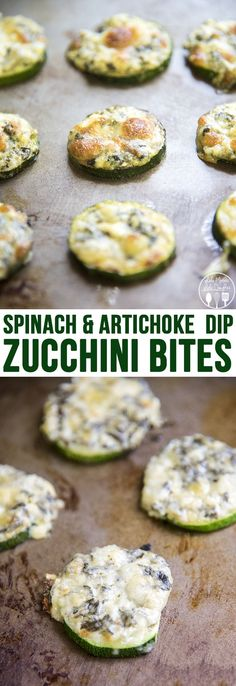 These Spinach and Artichoke Dip Zucchini Bites are a perfect 3 ingredient appetizer. Easy and delicious, great for game day or a party!