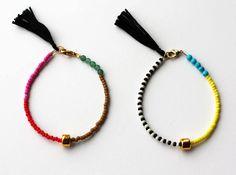 Friendship Bracelet - Bracelet with Tassel - Color block Bracelet - Layering Bracelet - Gold Gem Bracelet. $18.00, via Etsy.