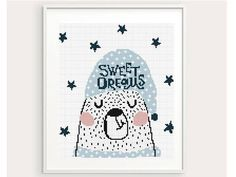 Sweet Dreams Bear Cross Stitch Pattern birth announcement