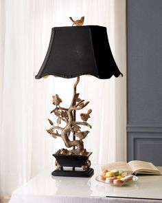 Brass Bird-on-Branch Lamp - Stunning lap for your home. Nature themed interior design accessories. Affiliate link.