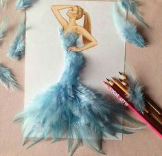 "Armenian Fashion Illustrator Creates Stunning Dresses From Everyday Objects Pics)- ""Armenian fashion illustrator Edgar Artis creates gorgeous dress designs with everyday objects he finds at home."" – via Bored Panda Fashion Illustration Sketches, Illustration Mode, Fashion Sketches, Arte Fashion, Paper Fashion, Chanel Fashion, Dress Fashion, Work Fashion, Fashion Fashion"