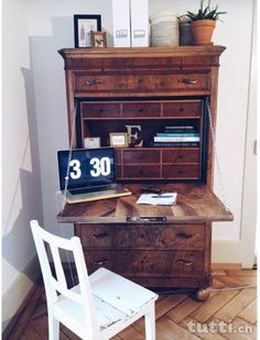 sekret r antik barock eiche wei gr n shabby schweden. Black Bedroom Furniture Sets. Home Design Ideas