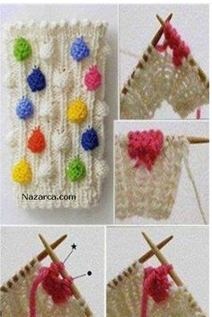38 New Ideas For Knitting Stitches Bobble Pom Poms Crochet Motifs, Crochet Stitches Patterns, Crochet Yarn, Stitch Patterns, Knit Stitches, Tunisian Crochet, Lace Patterns, Crochet Granny, Dress Patterns
