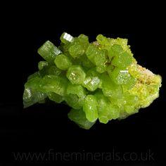 Pyromorphite cluster form China. Vivid bright green hexagonal crystal forming a…