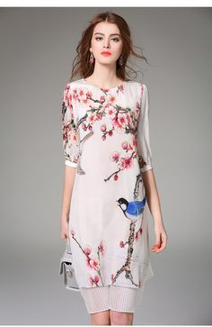 Nexiia 2016 printemps été femmes Vintage Style chinois Pure soie robe imprimée faux deux pièces moitié manches plissée jupe NX16303