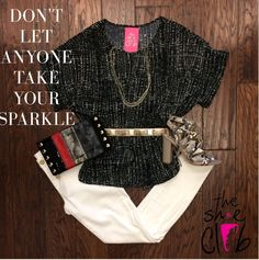 Get your shine on with this outfit! ✨so obsessed with everything that sparkles! 💍👑😍 Black slit top $55 White Jeans $88 Chan Luu necklace $45 Belt $24 Sam Edelman Snake print heels $120 Hammitt LA Space Blo $285 ☎️ 210-824-9988