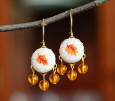 Dangle Earrings  Autumn Leaves  Yellow by PatchworkMillJewelry, $20.00