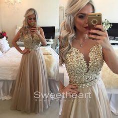 lace chiffon long prom dress,evening dress,formal dresses,prom 2k16