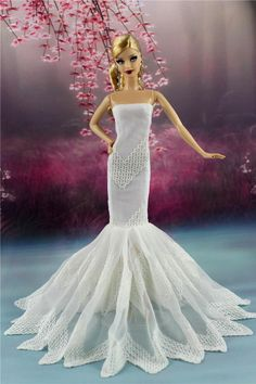 White Royalty Mermaid Dress Party Dress Wedding Clothes Gown for BArbie Doll F07   eBay