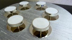 Shagreen round handles in polished nickel. Made to order by Phillips & Wood